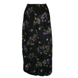 Long Maxi Skirt Black Floral Small